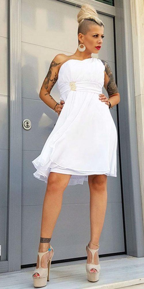 Φόρεμα Λευκό Κοντό
