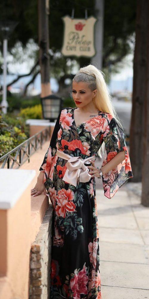 Κρουαζέ Φόρεμα Maxi με ζώνη
