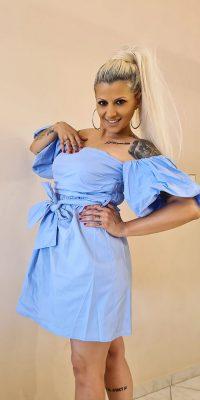 Κοντό Φόρεμα Σιέλ με ανοιχτή πλάτη