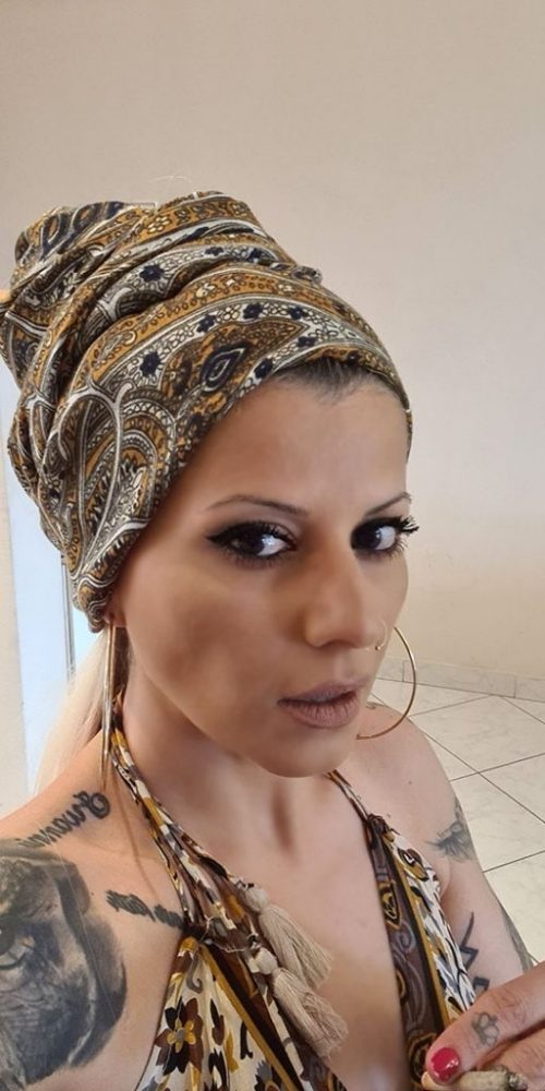 Μαντίλι για μαλλιά σε καφέ χρώμα