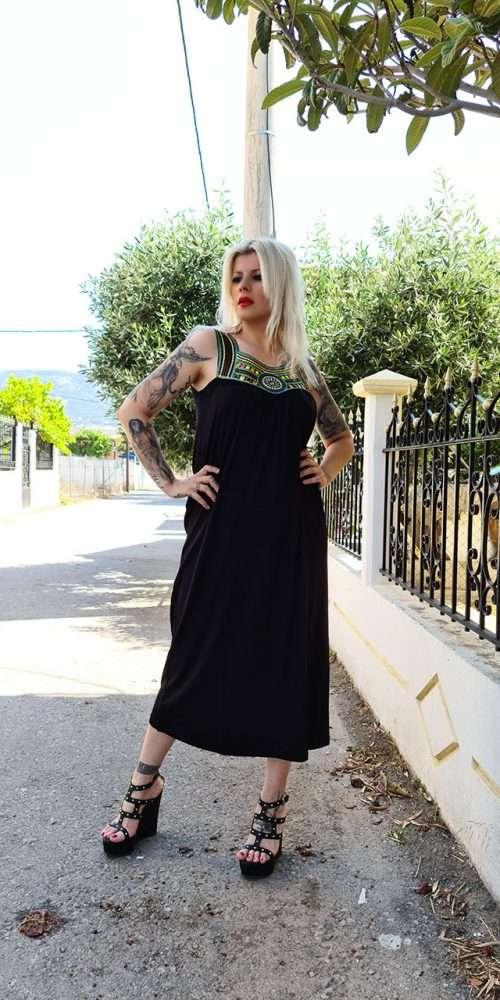 Boho Φόρεμα Μαύρο
